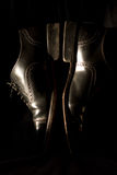 Black shoes. Classical black shoes in a retro style Royalty Free Stock Images