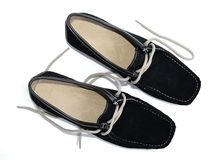 Black shoes. Two black leather shoes for woman royalty free stock image