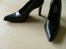 Black shoes. Black high-heeled shoes Stock Photos