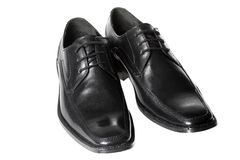 Black shoes. Black men's dress shoes, isolated Stock Photos