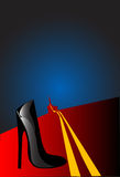 Black shoes. Black shoe forgotten on the long road Stock Photography