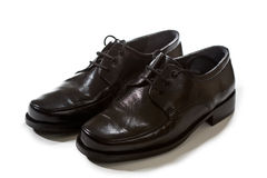 Black shoes. A pair of black men's dress shoes on white background Royalty Free Stock Images