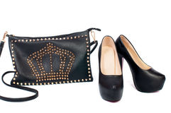 Black shoes and bag accessories Stock Image