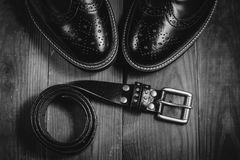 Black shoes and belt Royalty Free Stock Photos