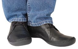 Black shoes blue denim indigo jeans casual men Stock Photography