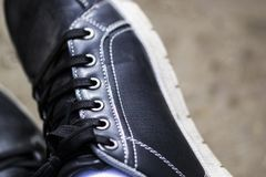 Black shoes close-up and details stock photo