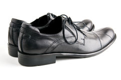 Black shoes closeup. Black man leather shoes closeup Stock Image