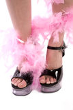 Black shoes feathers ankle Royalty Free Stock Image
