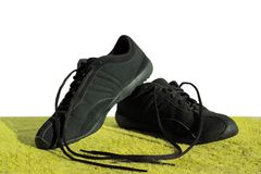 Black shoes on a green field Royalty Free Stock Photos