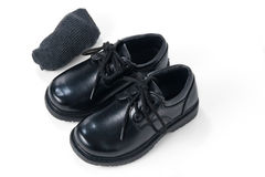 Black shoes with grey socks Royalty Free Stock Photos