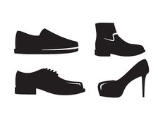 Black Shoes icons. Vector black Shoes icon on white background Stock Image