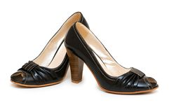 Black shoes isolated Royalty Free Stock Photos