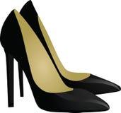 black shoes kvinnor Fotografering för Bildbyråer