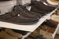 Black shoes For men. In the mall Royalty Free Stock Image