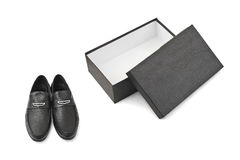 Black shoes and open box Stock Photo