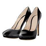 Black shoes, patent leather, vector illustration Stock Photo