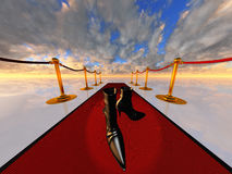 Black shoes on red carpet. High resolution 3D illustration Black shoes on red carpet Stock Photo