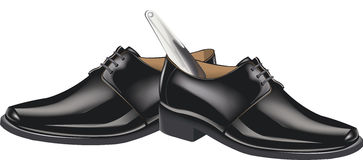 Black shoes with shoehorn Stock Photos