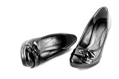Black shoes on white background isolated Stock Photos