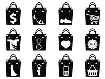 Black shopping bag icons set Stock Photos