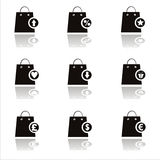 Black shopping bags icons Royalty Free Stock Photo