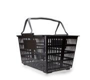 Black shopping basket isolated on white Stock Photography