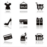 Black shopping icons Stock Photo
