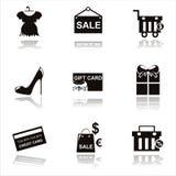 Black shopping icons Stock Photo