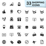 33 black shopping icons. This set contains 33 icons that can be used for designing and developing websites, apps, as well as printed materials and presentations Stock Photos