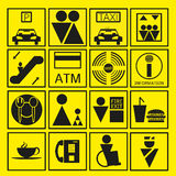 Black Shopping Mall Icon In Yellow Background. Vector Illustration Royalty Free Stock Photo