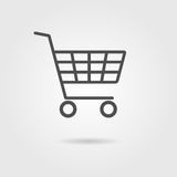 Black shopping trolley with shadow Royalty Free Stock Photos