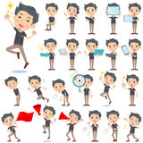 Black shortsleeved shirt Short beard man 2. Set of various poses of Beige suit short hair beard man 2 Stock Image