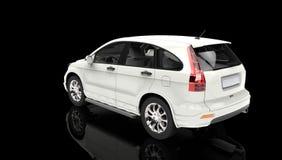 Black Showroom - White SUV Stock Photo