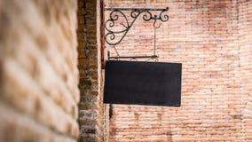 Black sign brick Stock Photo