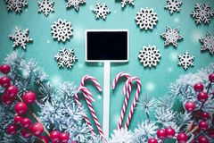 Black Sign With Christmas Decoration,Lights, Frosty Look royalty free stock photography