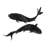 Black sign of the zodiac on white background. Pisces Zodiac sign on white background. Flying swimming fish silhouette collection in chinese style Stock Image