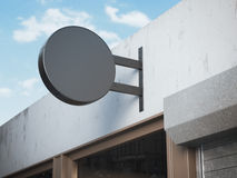 Black signboard on a shop. 3d rendering Stock Images