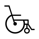 Black silhouette abstract reclining wheelchair flat icon. Illustration Stock Images