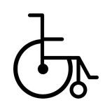 Black silhouette abstract wheelchair flat icon Stock Images