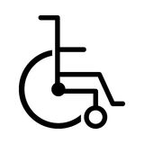 Black silhouette abstract wheelchair flat icon. Illustration Stock Images