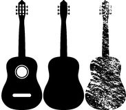 Guitar. Black silhouette of acoustic guitar vector illustration