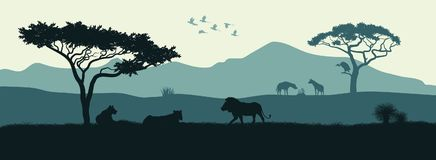 Black silhouette of animals of African savannah Stock Images