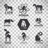 Black silhouette animals logos Stock Photography
