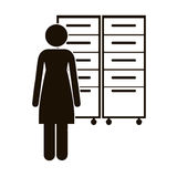 Black silhouette archiver with filling cabinet Royalty Free Stock Images
