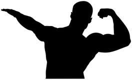Black silhouette athlete bodybuilder Royalty Free Stock Photos