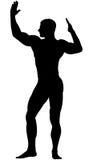 Black silhouette athlete bodybuilder Royalty Free Stock Image