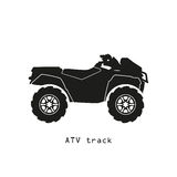 Black silhouette of ATV on a white background Royalty Free Stock Image