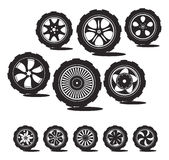 Black  silhouette: automotive wheel. With alloy wheels and tires Stock Photos