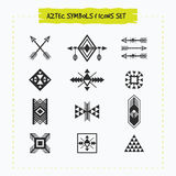 Black silhouette Aztec and tribal signs and symbols icons set Royalty Free Stock Photos
