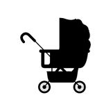 Black silhouette baby carriage with layette Royalty Free Stock Images